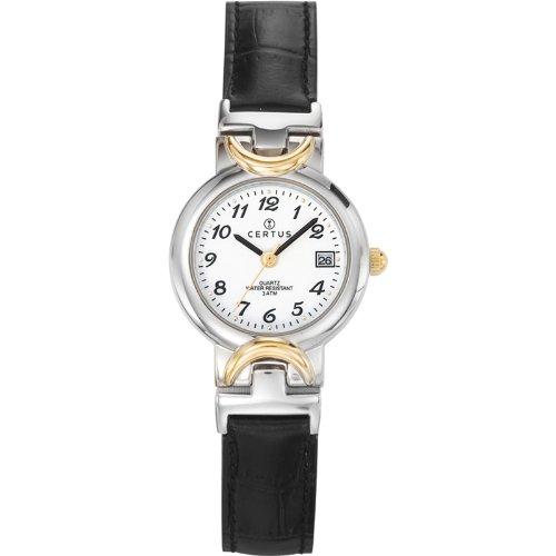 Certus 645339 - Reloj de cuarzo para mujer, con correa de cuero, color negro