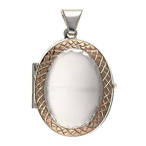 Two-Tone (Silver & Rose Gold Plated) Sterling Silver Oval Locket With Etched Rose Gold Diamond Cut Border On 18