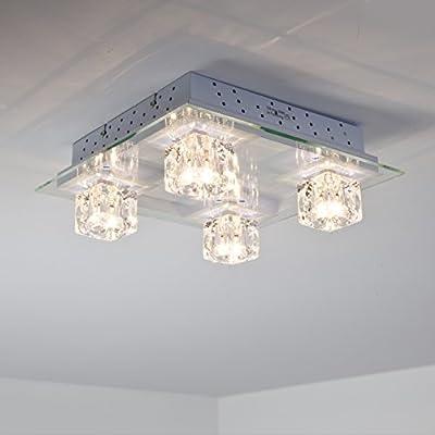 Halogen Deckenleuchte mit farbigen RGB LED, inkl. Fernbedienung, 4-flammig