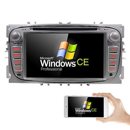 Autoradio avec lecteur DVD et navigateur GPS pour Ford Focus/Mondeo/Galaxy/S-Max - Prise en charge de DAB+/Bluetooth/USB/SD/DVD/CD/commande au volant - Écran 17,78 cm (7\