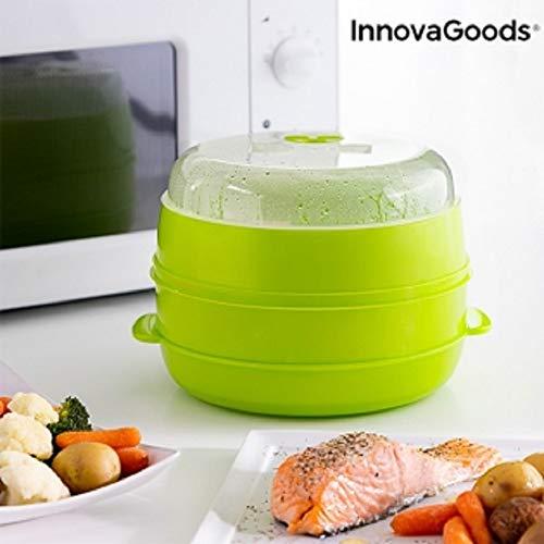 InnovaGoods Vaporera Doble para Microondas Fresh, Verde, 22 x 12/17 cm