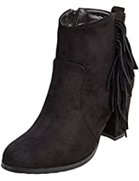 CASPAR Fashion SBO056, Bottines de cowboy / Santiags courtes femme - Noir - Noir,