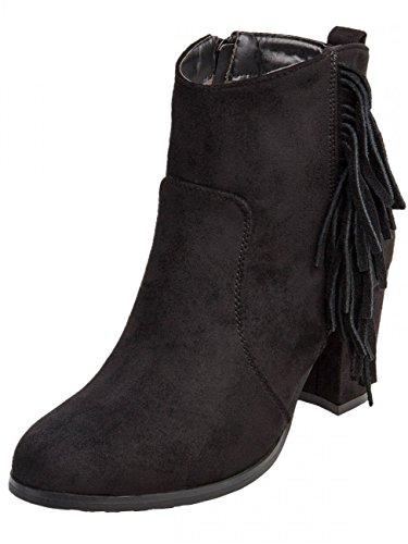 CASPAR Womens SBO056-Stivaletti alla caviglia con ciondoli a frange colorate, stile Vintage Nero (nero)