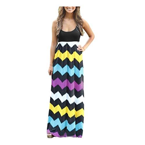 ❤Inawayls Sommerkleid Damen Lang mit Drucken Lang High Waist Elastische Strandkleider Maxikleider Ärmellos Elegant Kleid