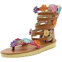 Luckycat Sandalias de Vestir Sandalias Mujer Planas Bohemia Pompones Flat Zapato Punta Abierta Sandals Verano Playa