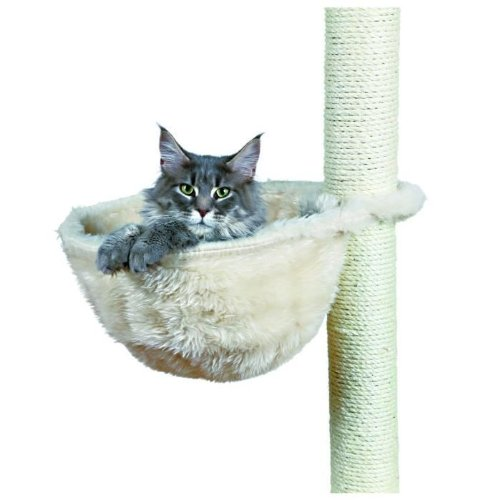 Peluche gatto borsa per tiragraffi, struttura in metallo, diametro 38cm, colore: crema