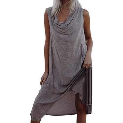 ommer solide ärmellose Falten asymmetrische Boho Strandurlaub Kleid(Large,Grau) ()