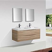 Amazon.fr : meuble salle de bain double vasque bois - Beige