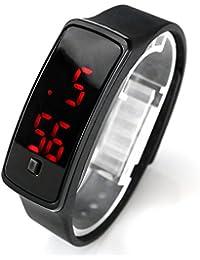 JSDDE Ultra Mince Mode Digital Montre Sport Unisexe Homme Femme Numerique LED Ecran en Silicone Conduit Montre-Bracelet De Sport Watch