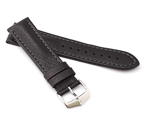 rmband Rindsleder Modell Lucca Größe Uhr 22 mm/Schließe 20 mm, Farbe Schwarz ()