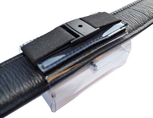 Produktbild bei Amazon - Tracker-Tasche für Halsbandbreite bis 50mm, Hochwertiger PVC, mit Klettverschluss, Zusatzsicherung, Adressfach, Hinweislabel Phone Inside!, für GPS Tracker XL 80x49x29mm