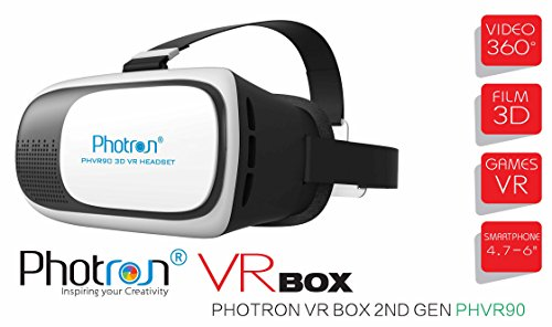 Photron VR BOX 2.0 Virtual Reality Glasses, 2017 3D VR Headset for Android and iOS Phones