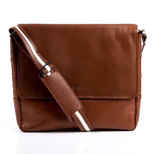 BACCINI Messenger bag Leder ROBERTO groß Laptoptasche Herren 15 Zoll Laptop Umhängetasche mit Extra-Abtrennung echte Ledertasche Herrentasche braun