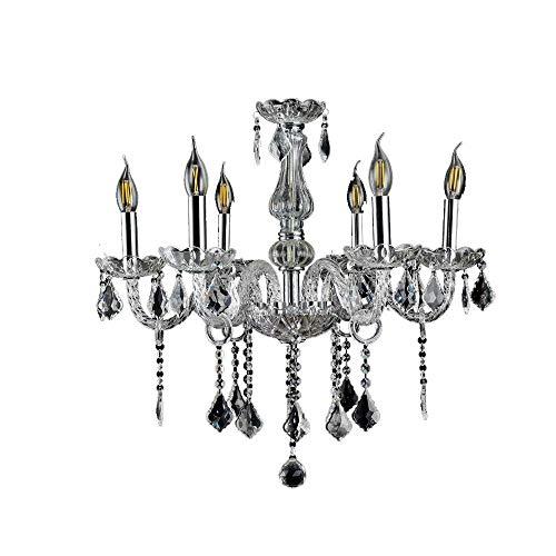 LeMeiZhiJia Kristall Kronleuchter Vintage Lüster Deckenleuchte Pendelleuchte Klar für Wohnzimmer Esszimmer Schlafzimmer (6 Flammig) (Kristall-pendelleuchte)