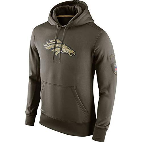 ATI-HSKJ Männer Kapuzenpullover Denver Broncos Jacke American Football Sport American Football-Trikots Pullover Rugby Langarmshirts Pullover Mantel,M165~170CM