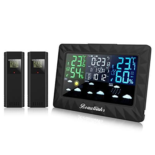 Beautlinks Funk Wetterstation mit LCD Farbdisplay, Innen Außen Hygrometer Digital Thermometer, Mond Phase, DREI-Tage-Wettervorhersage, Wecker für Zuhause Büro Schlafzimmer (Inkl. Zwei Außensensor)