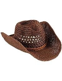 Sombrero De Vaquero Unisex Protección Solar con Chinstrap Sombrero Cómodo  De Sol Sombrero De Verano Sombrero De Paja Malla De Jazz Cap… 9e163508c32