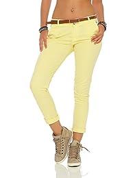 2a3cef775998 Zarmexx Femmes étirer Un Pantalon Slim avec Ceinture Chino Skinny Pantalons  Jeggings de Couleurs