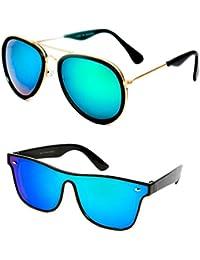 TheWhoop Combo UV Protected Mirror Green Aviator And Wayfarer Sunglasses For Men, Women, Girls, Boys