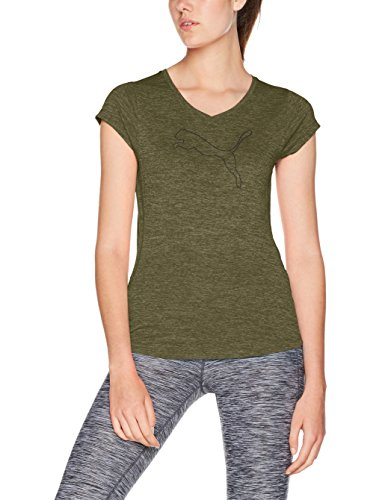PUMA Damen Heather Cat Tee T-Shirt, Olive Night Heather, L