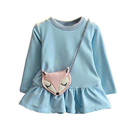Longra Kinder Baby Mädchen Outfits Kleider Langarm Prinzessin Kleid + Fox Crossbody Tasche Set Mädchen Herbst Casual Kleid(3-7 Jahre) (110CM 5Jahre, Blue)