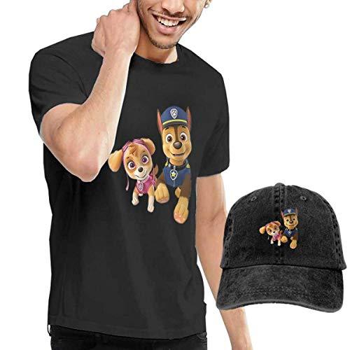 Kalinanai T-Shirts, T-Stücke, Paw-Patrol Men's Classic T-Shirt mit Washed Denim Baseball Hat Schwarz -