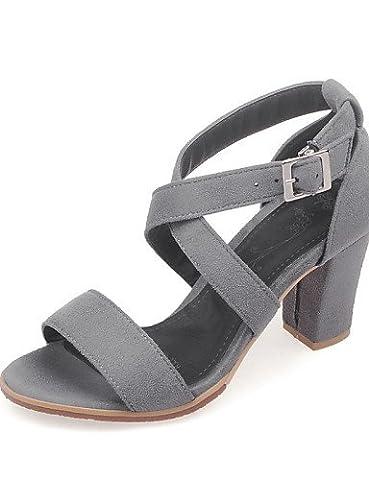 UWSZZ Die Sandalen elegante Comfort schuhe Donna-Sandali - Formale-Aperta Quadrato-Finta - Haut - Schwarz/Grau/Coral, grau-US 9 / EU 40/UK7/CN41, grau-US 9 / EU 40/UK7/CN41