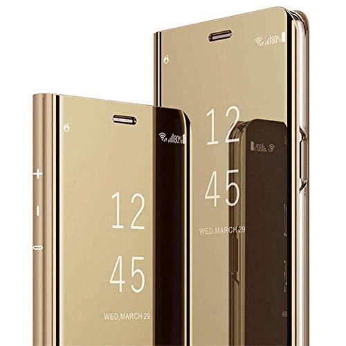 QPOLLY Cover Compatibile con Samsung Galaxy J7 Prime 2016 Libro PU Portafoglio Flip Specchio Completa Cover Ultra Sottile Trasparente Electroplate Folio Anti-graffio Supporto Protettiva Custodia,Oro