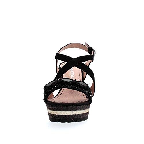 Sandalo Cafè Noir MHG551 incrocio su zeppa corda Nero