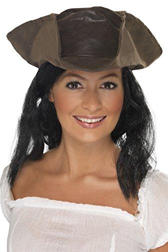 -Look Piraten Hut mit schwarzen Haaren, One Size, Braun, 25530 (Hut Mit Haar)