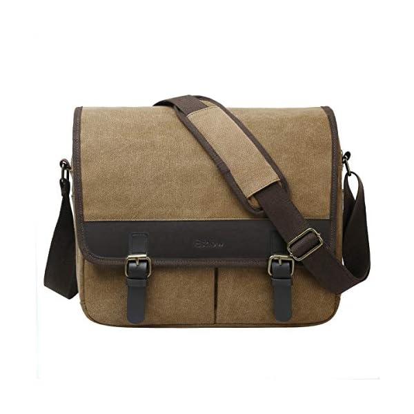 Bolso bandolera para hombre, de lona con hombro y bandolera, para hombre, Compatible con portátiles de 14 pulgadas, color gris.