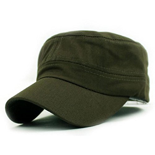 Bovake Klassische Plain Vintage Army Military Cadet Style Baumwoll Cap Hut Verstellbar (Army Green) (Logo Basic Hut Einstellbare)