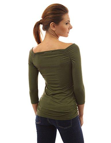 PattyBoutik femmes top extensible à l'épaule dégagée à manches 3/4 Vert olive