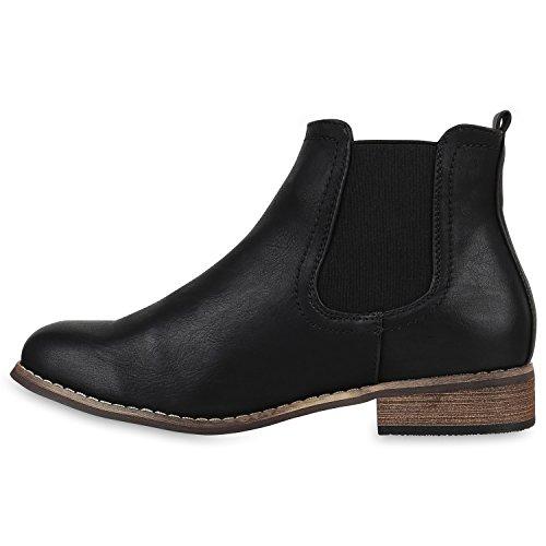 Gefütterte Damen Stiefeletten Klassische Chelsea Boots Lederoptik Boots Schuhe Schwarz