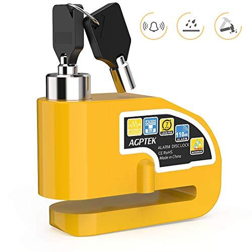 Agptek lucchetto antifurto moto bloccadisco impermeabile con allarme sonoro 110db per moto bicicletta, giallo
