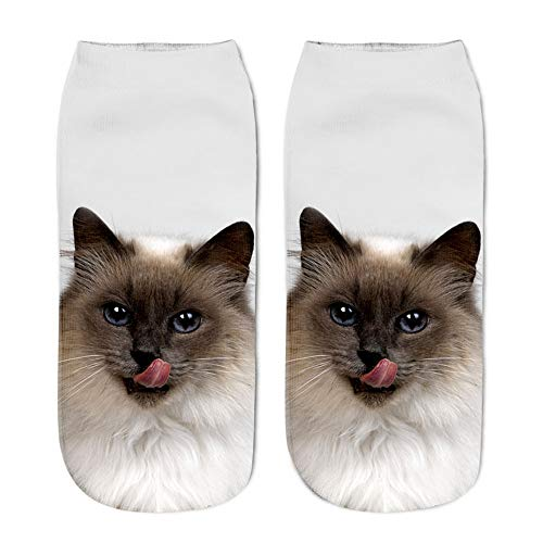 Cwemimifa Damen Füßlinge Ballerina Socken, lustige Unisex Short Socks 3D Katze gedruckt Fußkettchen Socken Casual Socken, Mehrfarbig