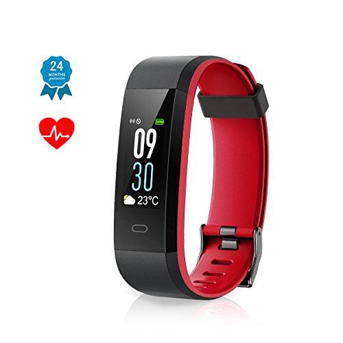 Muzili Pulsera Inteligente Fitness Tracker Impermeable Monitor de Fitness con Monitor de Ritmo cardiaco/Monitor de sueño/Notificación de Llamadas para teléfonos iOS y Android(Negro + Rojo)