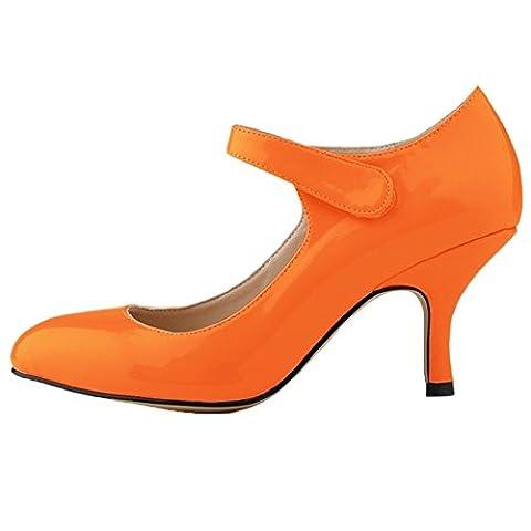 HooH Femmes Kitten Heel Mariage Escarpins Mary Jane Chaussures Orange 38 EU