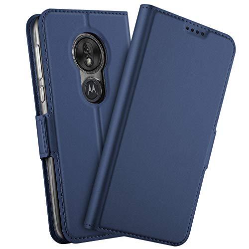 GEEMEE Hülle für Motorola Moto G7 Power, Premium PU Hülle Case Tasche Leder Brieftasche Schutzhülle Standfunktion Flip Handyhülle Cover (Blau)