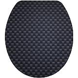 DIAQUA Lyon abattant WC avec système de fermeture amortie Slow Motion en MDF 100 %  FSC 31171505 47 x 37,8 cm, noir