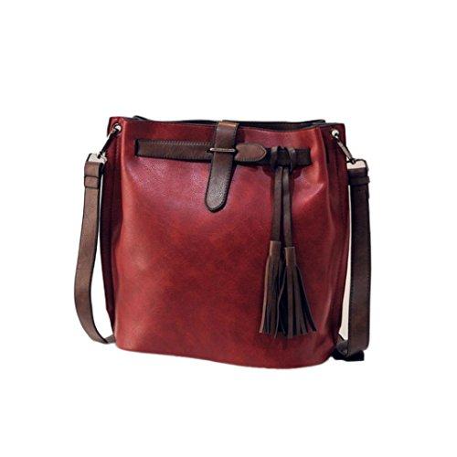 Transer Women Shoulder Bag Popular Girls Hand Bag Ladies Leather Handbag, Borsa a spalla donna Grey 27cm(L)*29(H)*14cm(W) Wine Red
