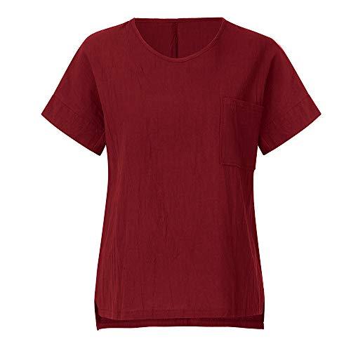 CAOQAO Kurzarmtasche FüR Damen Mit Tasche Einfarbig Fashion Vintage T-Shirt