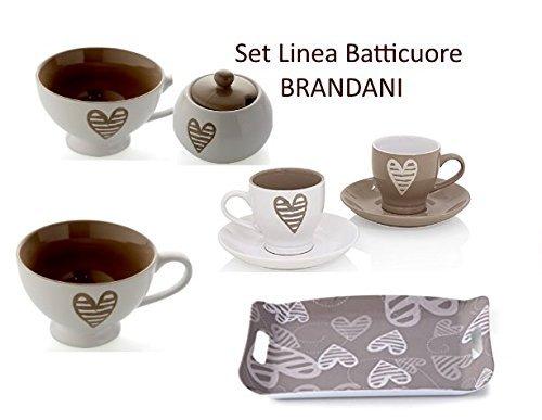 Brandani Batticuore Set regalo natale 7 pezzi (2 tazzoni colazione+2 tazzine caffè con piattino +zuccheriara + vassoio 35,5 x 25,5cm)