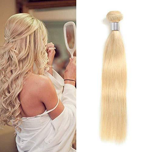 Ugeat 55cm Gebleichtes Blond Remy Echthaar Tressen zum Einnahen 100g Gute Qualitat Glatt Haarverlangerung Echthaar Extensions #613 1 Bundeln