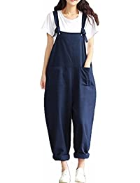 b9daf1be8c9 ZANZEA Women s Retro Loose Casual Baggy Sleeveless Overall Long Jumpsuit  Playsuit Trousers Pants Dungarees