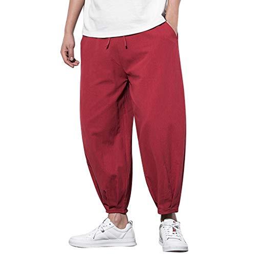SHE.White - Pantaloni da spiaggia da uomo, comodi, traspiranti, leggeri, con coulisse, lunghezza a 3/4, per il tempo libero, 4 colori, M-5XL XL vino