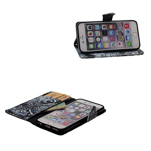 Apple iPhone 6S Plus / 6 Plus 5.5 inch Custodia Protettiva Case, Libro Morbido Pelle PU Bellissimo Stampato Modello ( Wapiti ) Portafoglio Carta Titolare Copertura Anti shock nero