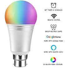 Wifi Smart Bulb Colour Dimmable LED Light B22 Bayonet 60W Equivalent Bulb, Remote Control by Smart Device and Voice Control by Amazon Alexa & Google Home No Hub Required (Cool Daylight White 7W 6000K)