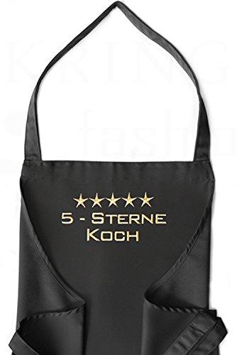 KringsFashion® + CG Workwear Latzschürze 5-Sterne-Koch, hochwertig bestickt, Schürzenfarbe zur Auswahl, Küchenschürze