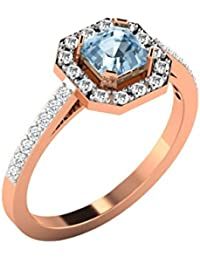 His & Her Gold, Diamond And Aquamarine Ring For Women